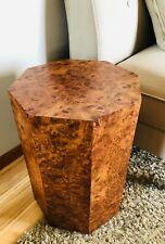 Mid Century Octagon End Table Side Table Carpathian Elm Burl Wood Pedestal Stand