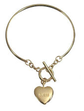 Guess Bracelet Bangle Gold  Engraved Logo Heart Charm Logo Gift Jewelry