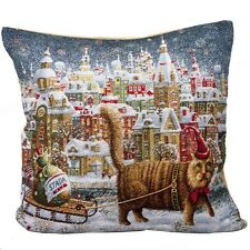 Cat with a Sled Decorative Tapestry Throw Pillow Made in Russia Winter Sale