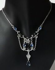 Blumen Halskette Collier Kette Vintage Kristall Strass saphir blau rhodiniert