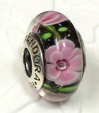 NEW Authentic Pandora 925 silver murano bead charm  pink flower retired