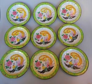 Chinese Canton Famille Rose Enamel on Copper Set of 9 Plates Phoenix Bird Peony
