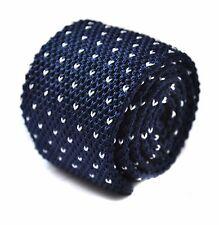 Frederick Thomas Knitted Silk Mens Tie - Dark Navy Blue - Skinny Pin Spot