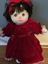 Vintage My Child Doll Mattel Black Blue Eyes Red  Dress White 1985 Read