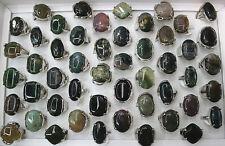 Fashion Jewelry Wholesale Lots 25pcs Mixed Big Natural Stone Lady's Women Rings