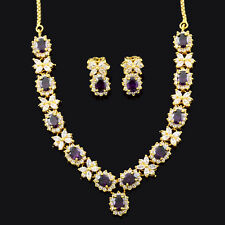 Fashion Oval Purple Amethyst Yellow Gold Plated Earrings Necklace Jewelry Set