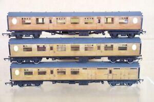 HORNBY R937 R938 RAKE of 3 REFINISHED LNER THOMPSON COMPOSITE BRAKE COACH nt