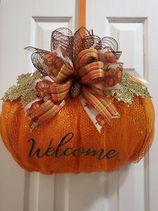 "🍁🌰 Elegant Fall Deco Mesh ""WELCOME"" Pumpkin Wreath - Autumn - Fall Wreath🍂🍁"