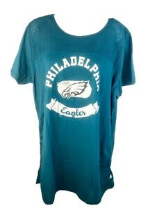 NFL Philadelphia Eagles Ladies Green Mesh Top Solid Bottom Maternity T-shirt
