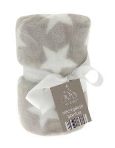 Baby Buggy Pram Cot Plush Star Design Flannel Blanket Elli & Raff 70x90cm