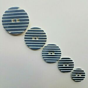 Blue & White Striped Buttons x 5 Mixed Sizes Sewing Crochet Knitting DIY Craft