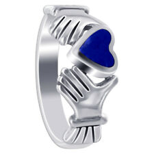 925 Sterling Silver Blue Lapis Lazuli 6mm Heart with Irish Claddagh Ring Size 5