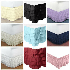 "Bed Valance Multiilayered Ruffled Elastic Bed Skirt Bedding Dressing 15"" Drop"