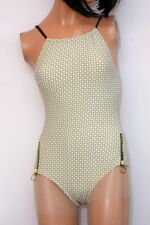 Michael Kors High-Neck Maillot Side Zipper Designer Swimsuit Beige Size 6-USA