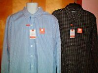 NWT NEW mens blue white black VAN HEUSEN non iron traveler l/s dress shirt