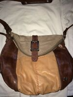 "THE SAK ""Deena"" Multi Brown Leather / Suede Messenger Cross Body Purse Bag EUC"