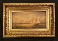 Antique Yacht Race Painting Regatta in Gold Frame Maritime Original Oil Painting