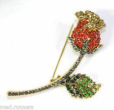 Red Rose Rhinestone Diamante Crystal Like Divine Brooch Pin Br50524