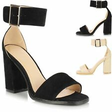 Ladies Women Block High Heel Barely There Open Peep Toe Ankle Strap Sandal Shoes