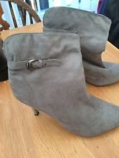 Clowse Womens Grey Faux Suede Soft Top Stiletto Ankle Boots Size 5 Ex Condition