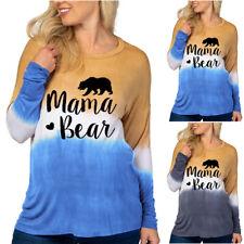 Womens Ladies Long Sleeve Tie Dye Gradient Print T-Shirt Maternity Pregnancy Top