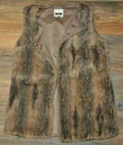 NEXT Ladies Faux Fur Sleeveless Coat Gilet Vest Brown Winter Cover UK 12