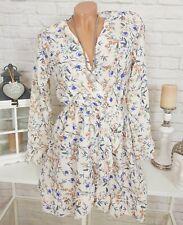 Volant Blumen Kleid Chiffon Minikleid Wickeloptik geblümt Vögel Creme 36 38 40