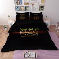 Single/Double/Queen/King Size Bed Quilt/Doona/Duvet Cover Set Black Star Wars