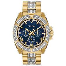 Bulova Octava Men's Quartz Crystal Accents Gold-Tone Bracelet 44mm Watch 98C128