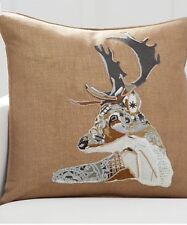 """Pottery Barn Collage Stag 24"""" Pillow Cover. Deer. Holiday."""