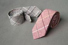 Grid 100% Cotton Wedding Groom Party Business Attire Skinny Necktie Neck Tie