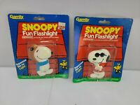 VIntage 2 Peanuts Flashlight Snoopy Joe Cool Fun Squeeze  Suction Cup Red Baron