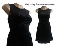 BN LADIES WOMEN TOPSHOP BLACK STUNNER CRUSHED VELVET SKATER DRESS MESH NECK 6-16