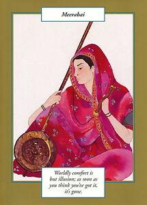 GREETING CARD spiritual art MIRABAI  Saints and Sages gold border sacred