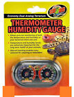 ZOO MED DUAL ANALOG THERMOMETER  HUMIDITY GAUGE ECONOMY. FREE SHIP IN THE USA