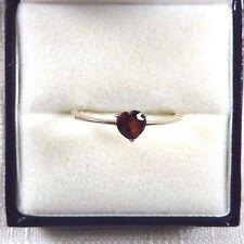 0.45 ct Petite Heart Garnet 925 Sterling Silver Ring US (8 1/2) AU (Q 3/4)