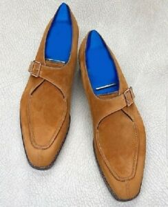 New Pure Handmade Dark Blue Shaded Leather Monk Strap Stylish Shoes For Men's
