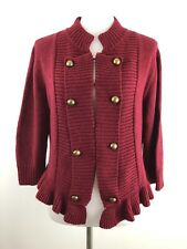 Decree Womens Sweater Red Speckled Military Band Shrug Bolero Ruffle Button XXL