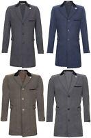 Mens 3/4 Long Crombie Overcoat Jacket Herringbone Tweed Coat Peaky Blinder