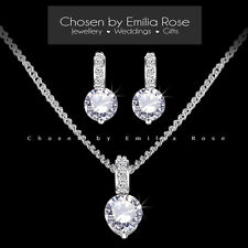 Wedding Jewelry Set, Bridesmaid Crystal Rhinestone Necklace & Earrings Jewellery