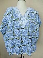 Handmade Blue Batik Crop Dashiki Top Size~2X Boho  Festival Ethnic Nigeria