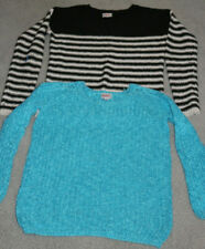 JUSTICE GIRLS LOT OF 2 SWEATERS - 1 TURQUOISE 1- BLACK/WHITE STRIPE SIZE 10/12