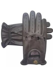 Mens/Ladies Retro Real Leather Driving Gloves Chauffer Gloves Fashion Gloves