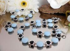 Zilar 3er SET facettierte Glasperlen schwarz + Scheiben in hellblau