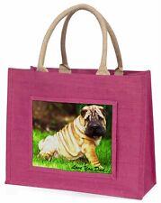 Shar-Pei Dog 'Love You Dad' Large Pink Shopping Bag Christmas Presen, DAD-109BLP