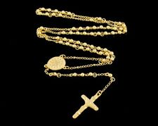Men Chain Gold Tone Bead Rosary Stainless Steel Jesus Cross Pendant Necklace 4mm