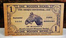 1939 Wooden Nickel Paris Kentucky Sesqui Centennial Sir Galahad III