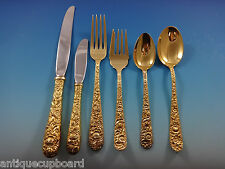 Repousse by Kirk Sterling Silver Flatware Set For 4 Service 25 Pieces Vermeil