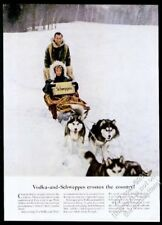 1958 Schweppes tonic water case sled dog team photo vintage print ad