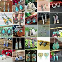 Lots Style Women Vintage Turquoise Ear Stud Hook Dangle Earrings Lady Jewelry
